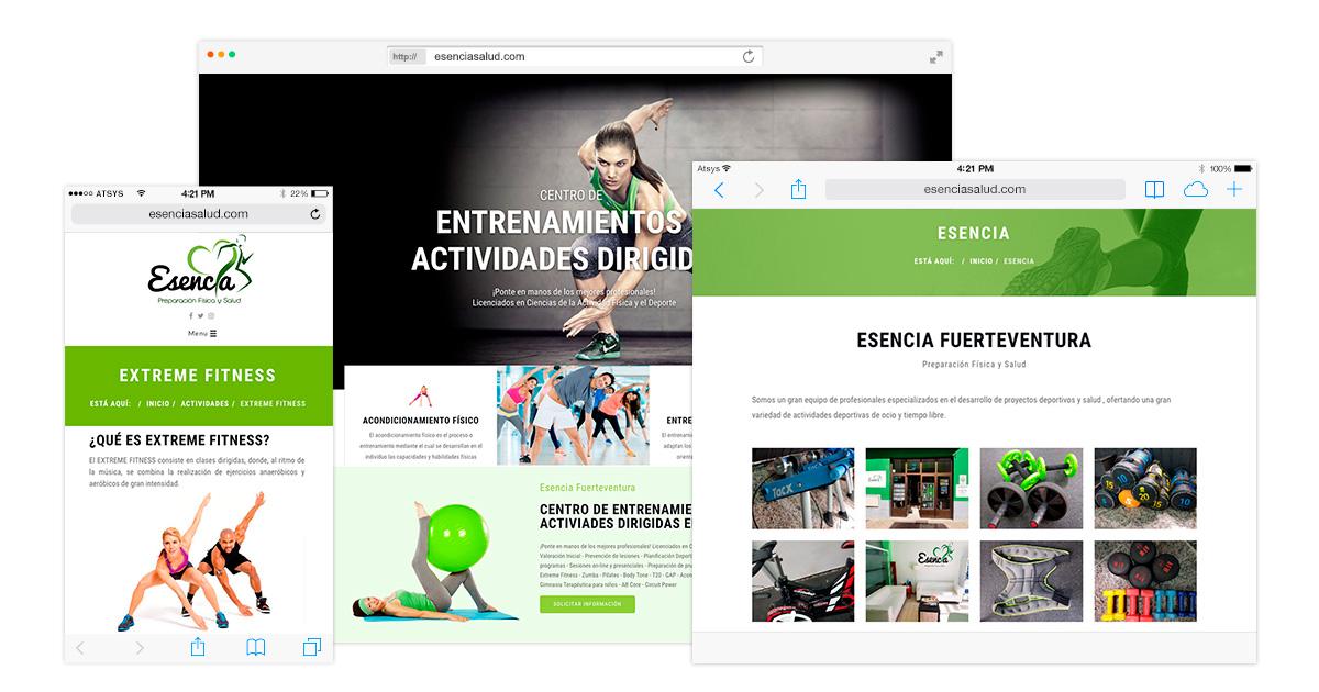Diseño página web en Fuerteventura Centro deportivo Esencia