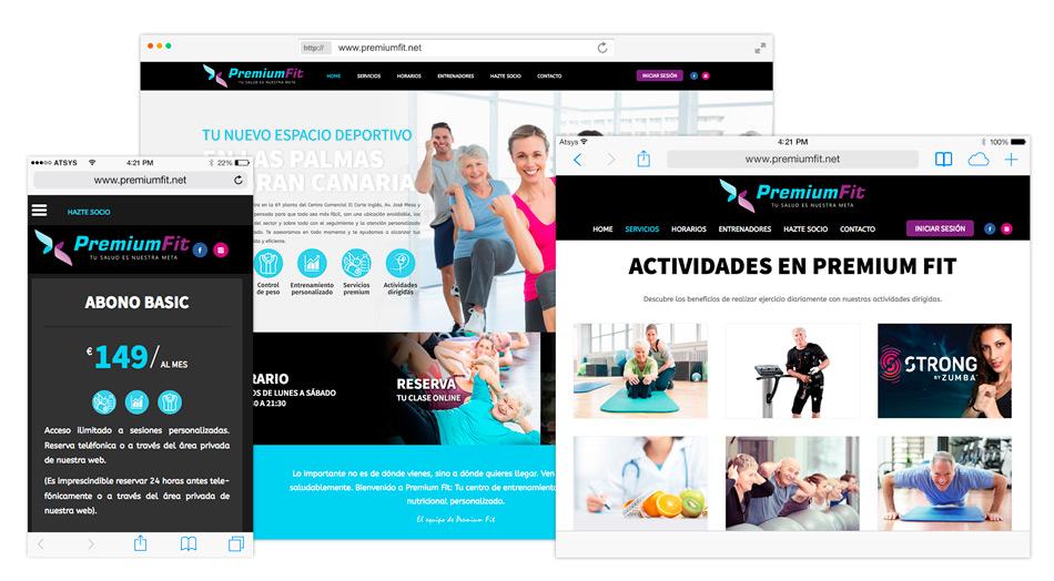 Página web gimnasio Premium Fit en Las Palmas