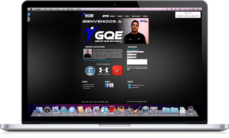 Desarrollo web para la empresa del mundo del Fitness profesional: GQE